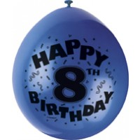 "Happy 8th Birthday 9"" Latex Air Fill Balloon - Assorted Colours, Printed 1 Side - 10ct."