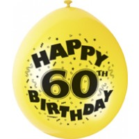"Happy 60th Birthday 9"" Latex Air Fill Balloon - Assorted Colours, Printed 1 Side - 10ct."