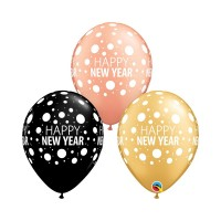 "Happy New Year Dots- 11"" Rose Gold, Gold and Black  25ct Latex Balloons"