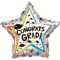 "Congrats Grad With Hats 18"" Foil Balloon"