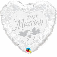 "Just Married -  Doves  36"" Shape Foil Balloon"