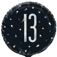 """Black/Silver Glitz 18"""" Foil Age 13 Prism Foil Balloon"""