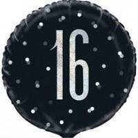 """Black/Silver Glitz 18"""" Foil Age 16 Prism Foil Balloon"""