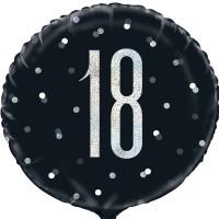 """Black/Silver Glitz 18"""" Foil Age 18 Prism Foil Balloon"""