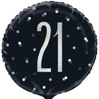 """Black/Silver Glitz 18"""" Foil Age 21 Prism Foil Balloon"""