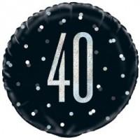 """Black/Silver Glitz 18"""" Foil Age 40 Prism Foil Balloon"""
