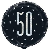 """Black/Silver Glitz 18"""" Foil Age 50 Prism Foil Balloon"""