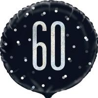 """Black/Silver Glitz 18"""" Foil Age 60 Prism Foil Balloon"""