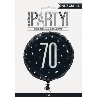 """Black/Silver Glitz 18"""" Foil Age 70 Prism Foil Balloon"""