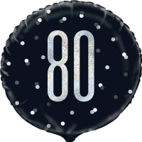 """Black/Silver Glitz 18"""" Foil Age 80 Prism Foil Balloon"""