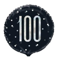 """Black/Silver Glitz 18"""" Foil Age 100 Prism Foil Balloon"""