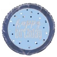 """Blue/Silver Glitz 18"""" Foil Happy Birthday Prism Foil Balloon"""