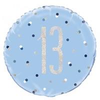 "Blue/Silver Glitz 18"" Foil Age 13 Prism Foil Balloon"