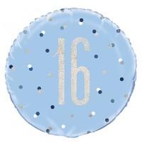 "Blue/Silver Glitz 18"" Foil Age 16 Prism Foil Balloon"