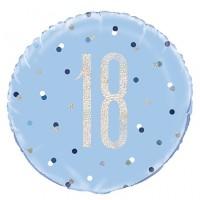 "Blue/Silver Glitz 18"" Foil Age 18 Prism Foil Balloon"