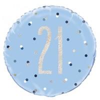 "Blue/Silver Glitz 18"" Foil Age 21 Prism Foil Balloon"