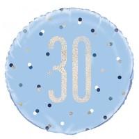 "Blue/Silver Glitz 18"" Foil Age 30 Prism Foil Balloon"