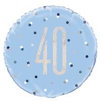 "Blue/Silver Glitz 18"" Foil Age 40 Prism Foil Balloon"