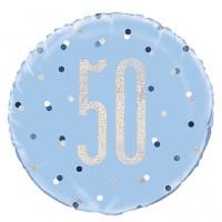 "Blue/Silver Glitz 18"" Foil Age 50 Prism Foil Balloon"