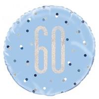 "Blue/Silver Glitz 18"" Foil Age 60 Prism Foil Balloon"