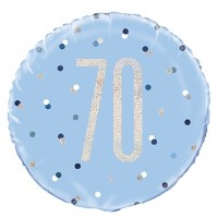 "Blue/Silver Glitz 18"" Foil Age 70 Prism Foil Balloon"