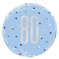 "Blue/Silver Glitz 18"" Foil Age 80 Prism Foil Balloon"