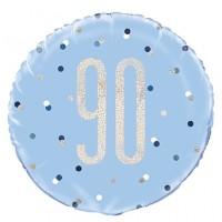 "Blue/Silver Glitz 18"" Foil Age 90 Prism Foil Balloon"