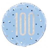 "Blue/Silver Glitz 18"" Foil Age 100 Prism Foil Balloon"