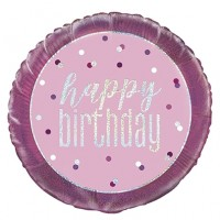 "Pink/Silver Glitz 18"" Foil Happy Birthday Prism Foil Balloon"