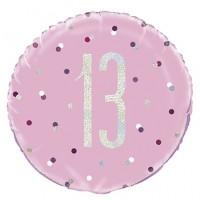 "Pink/Silver Glitz 18"" Foil Age 13 Prism Foil Balloon"
