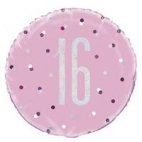"Pink/Silver Glitz 18"" Foil Age 16 Prism Foil Balloon"