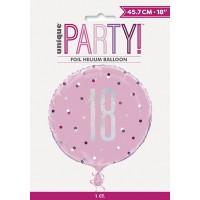 "Pink/Silver Glitz 18"" Foil Age 18 Prism Foil Balloon"