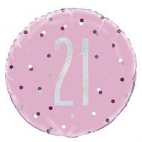 "Pink/Silver Glitz 18"" Foil Age 21 Prism Foil Balloon"