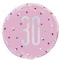 "Pink/Silver Glitz 18"" Foil Age 30 Prism Foil Balloon"