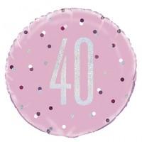 "Pink/Silver Glitz 18"" Foil Age 40 Prism Foil Balloon"