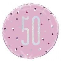 "Pink/Silver Glitz 18"" Foil Age 50 Prism Foil Balloon"