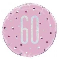 "Pink/Silver Glitz 18"" Foil Age 60 Prism Foil Balloon"