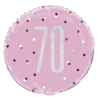 "Pink/Silver Glitz 18"" Foil Age 70 Prism Foil Balloon"