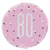 "Pink/Silver Glitz 18"" Foil Age 80 Prism Foil Balloon"
