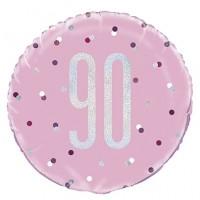 "Pink/Silver Glitz 18"" Foil Age 90 Prism Foil Balloon"