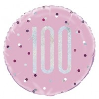 "Pink/Silver Glitz 18"" Foil Age 100 Prism Foil Balloon"