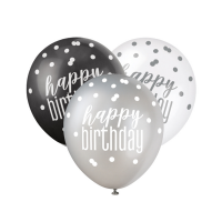 "Black/Silver Glitz 12"" Happy Birthday Latex Balloons 6ct"
