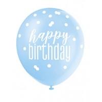 "Blue/Silver Glitz 12"" Happy Birthday Latex Balloons 6ct"