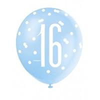 "Blue/Silver Glitz 12"" Age 16 Latex Balloons 6ct"