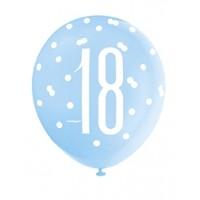 "Blue/Silver Glitz 12"" Age 18 Latex Balloons 6ct"