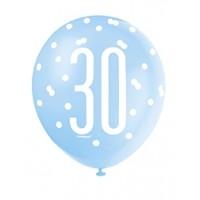 "Blue/Silver Glitz 12"" Age 30 Latex Balloons 6ct"
