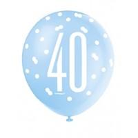 "Blue/Silver Glitz 12"" Age 40 Latex Balloons 6ct"