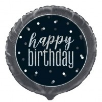 "Black/Silver Glitz 18"" Foil Happy Birthday Prism Foil Balloon"