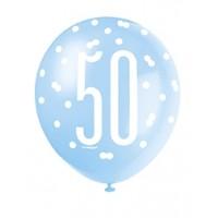"Blue/Silver Glitz 12"" Age 50 Latex Balloons 6ct"