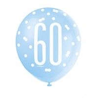 "Blue/Silver Glitz 12"" Age 60 Latex Balloons 6ct"